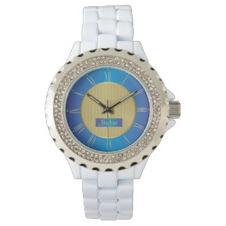 Navy, blue and gold watch