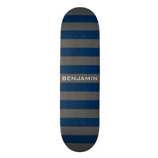 Navy Blue and Gray Rugby Stripes with Custom Name 21.6 Cm Old School Skateboard Deck
