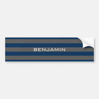 Navy Blue and Gray Rugby Stripes with Custom Name Bumper Sticker