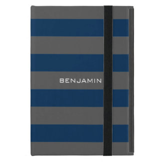 Navy Blue and Gray Rugby Stripes with Custom Name Cover For iPad Mini