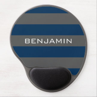 Navy Blue and Gray Rugby Stripes with Custom Name Gel Mouse Mat