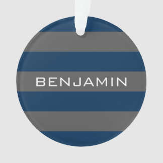 Navy Blue and Gray Rugby Stripes with Custom Name Ornament