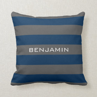 Navy Blue and Gray Rugby Stripes with Custom Name Throw Pillow