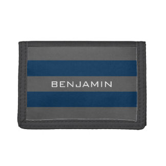 Navy Blue and Gray Rugby Stripes with Custom Name Trifold Wallets