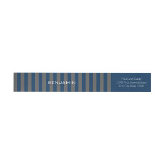 Navy Blue and Gray Rugby Stripes with Custom Name Wrap Around Label