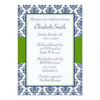 Navy Blue and Green Damask Bridal Shower 13 Cm X 18 Cm Invitation Card