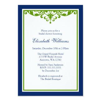 Navy Blue and Green Flourish Bridal Shower 13 Cm X 18 Cm Invitation Card