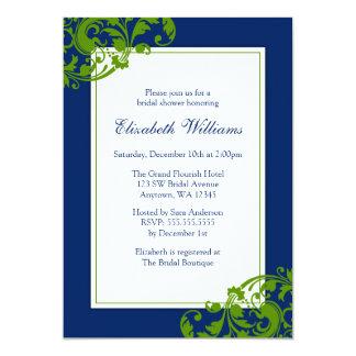 Navy Blue and Green Flourish Swirls Bridal Shower 13 Cm X 18 Cm Invitation Card
