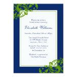 Navy Blue and Green Flourish Swirls Bridal Shower Invitations