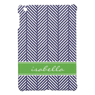 Navy Blue and Green Herringbone Custom Monogram iPad Mini Cases