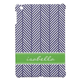 Navy Blue and Green Herringbone Custom Monogram iPad Mini Cover