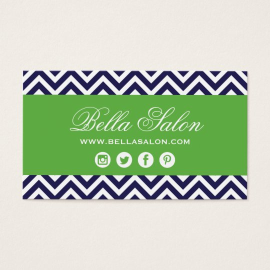 Navy Blue and Green Modern Chevron Stripes Business Card