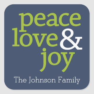 Navy Blue and Green - Peace, Love and Joy Square Sticker