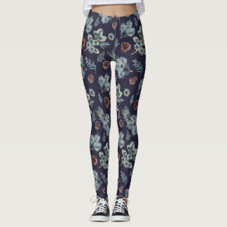 Navy Blue and Green Pine Tree Illustrated Leggings