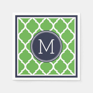 Navy Blue and Green Quatrefoil Wedding Monogram Disposable Napkin