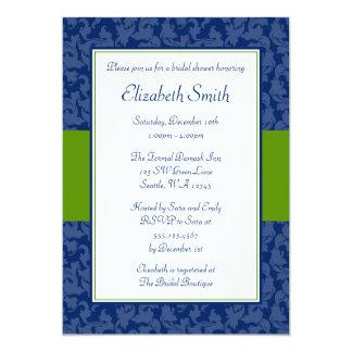 Navy Blue and Green Swirl Damask Bridal Shower 13 Cm X 18 Cm Invitation Card