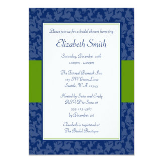 Navy Blue and Green Swirl Damask Bridal Shower Card