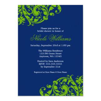 Navy Blue and Green Swirl Flourish Bridal Shower 13 Cm X 18 Cm Invitation Card