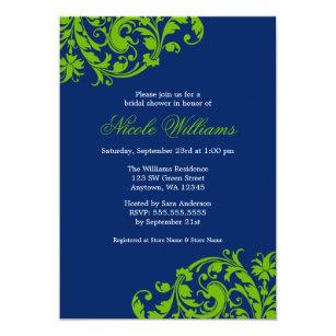 bdfc8f42a467 Navy Blue and Green Swirl Flourish Bridal Shower Invitation