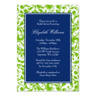 Navy Blue and Green Swirls Damask Bridal Shower 13 Cm X 18 Cm Invitation Card