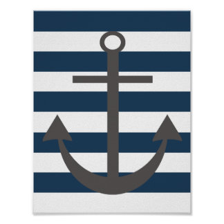 Navy Blue and Grey Anchor Nursery Print