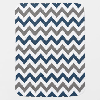Navy Blue and Grey Chevron Baby Blanket