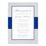 Navy Blue and Grey Chevron Bridal Shower Personalized Invite