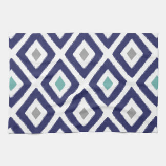 Navy Blue and Grey Ikat Diamond Pattern Hand Towels