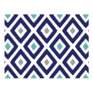 Navy Blue and Grey Ikat Diamond Pattern Postcard