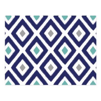 Navy Blue and Grey Ikat Diamond Pattern Postcard