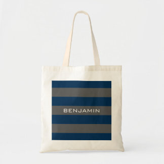 Navy Blue and Grey Rugby Stripes with Custom Name Budget Tote Bag