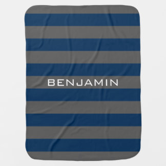 Navy Blue and Grey Rugby Stripes with Custom Name Pram blankets