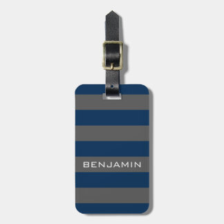 Navy Blue and Grey Rugby Stripes with Custom Name Tag For Luggage