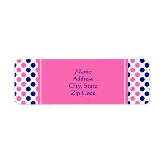 Navy Blue and Hot Pink Polka Dot Pattern Return Address Label