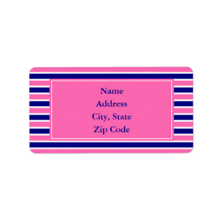 Navy Blue and Hot Pink Stripes Pattern Label