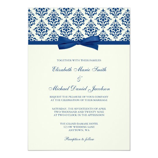 Rose Gold Typography Navy Blue Watercolor Wedding