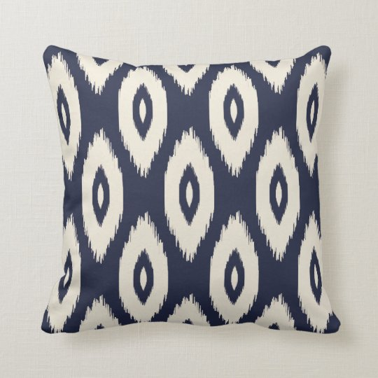 Navy Blue and Ivory Tribal Ikat Dots Cushion