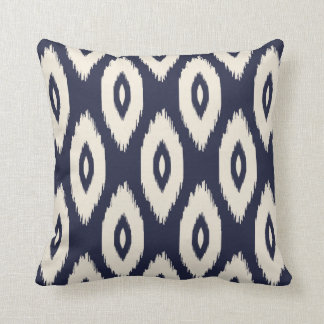 Navy Blue and Ivory Tribal Ikat Dots Throw Pillow