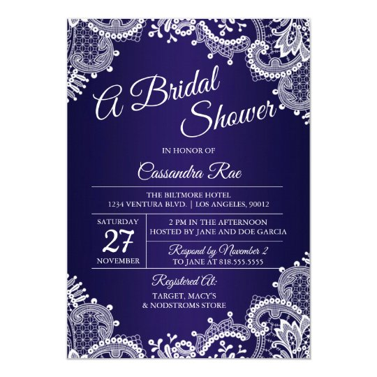 Navy Blue and Lace Bridal Shower Invitation
