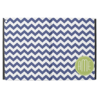 """Navy Blue and Lime Green Chevron Pattern iPad Pro 12.9"""" Case"""