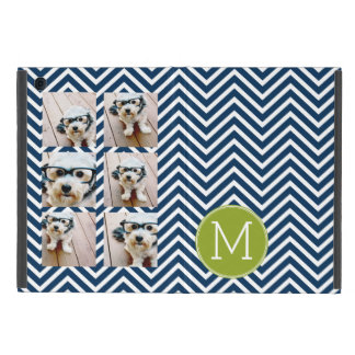 Navy Blue and Lime Green Chevrons Custom Monogram Covers For iPad Mini
