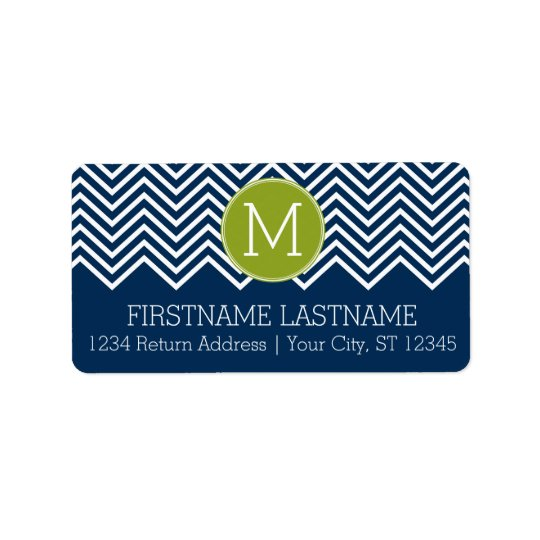 Navy Blue and Lime Green Chevrons Custom Monogram Label