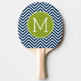 Navy Blue and Lime Green Chevrons Custom Monogram Ping Pong Paddle