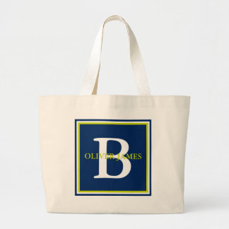 Navy Blue and Lime Green Monogram Large Tote Bag