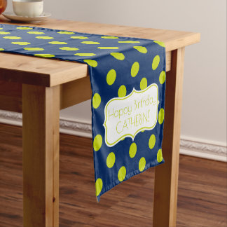 Navy Blue and Lime Green Personalized Birthday Short Table Runner