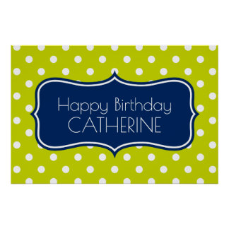 Navy Blue and Lime Green Polka Dot Birthday Poster