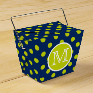 Navy Blue and Lime Green Polka Dot Monogram Favour Box