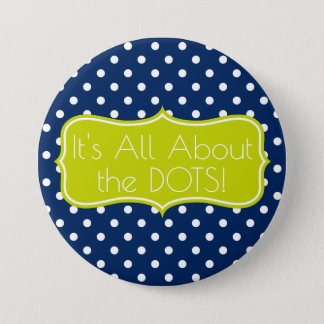 Navy Blue and Lime Green Polka Dot Personalized 7.5 Cm Round Badge