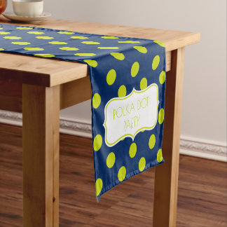 Navy Blue and Lime Green Polka Dot Personalized Short Table Runner