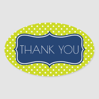 Navy Blue and Lime Green Polka Dot Thank You Oval Sticker